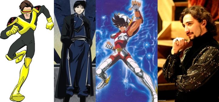 Ciclope (X-Men Evolution), Roy Mustang (Fullmetal Alchemist), Seiya de Pégaso (Cavaleiros do Zodíaco) e Hermes Baroli (atuando).