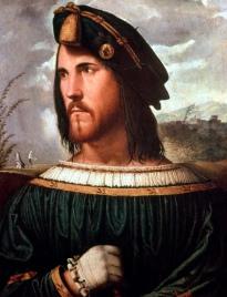 Retrato de um Cavalheiro (Cesare Borgia), por Altobello Melone.