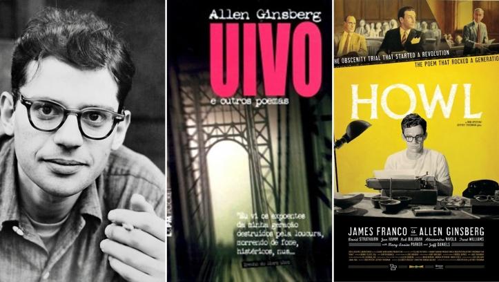 Allen Gunsberg (Autor); Livro Uivo e Outros Poemas (L&PM Pocket); e cartaz do filme Uivo (Howl, 2010).