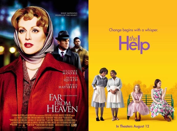 """Capa dos filmes """"Longe do Paraíso"""" (Far from Heaven, 2002) e """"Histórias Cruzadas"""" (The Help, 2011)."""