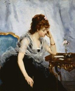 """Detalhe da Capa: """"Jovem Senhora Escrevendo uma Carta"""", de Victor-Gabriel Gilbert (1875)"""