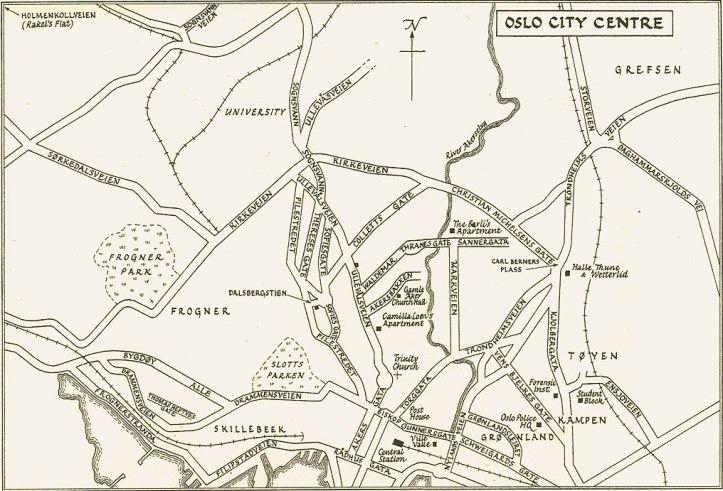 Mapa da Oslo de Harry Hole, onde a maioria dos casos se desenrola.
