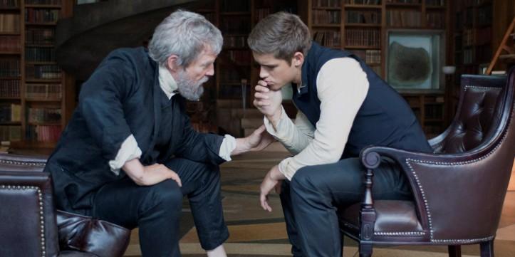 Cena do filme: O Doador (Jeff Bridges) e Jonas (Brenton Thwaites).
