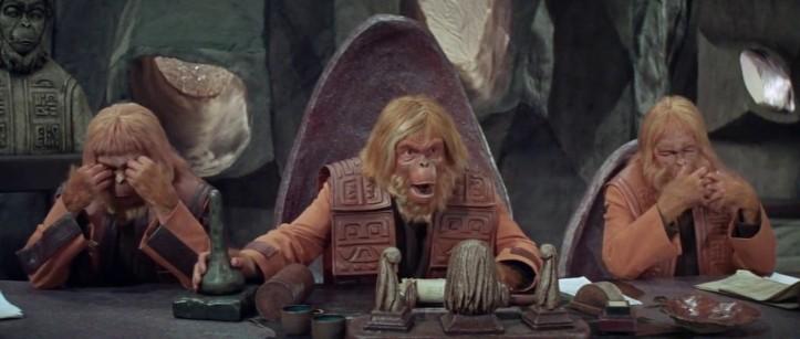 Assembléia dos macacos, decidindo sobre a vida do humano.