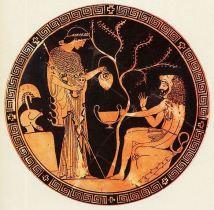 Pintura em vaso: Atena e Héracles