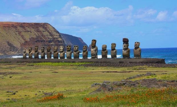 O Ahu Tongariki, uma série com 15 Moai na Ilha de Páscoa