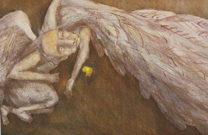 """""""Suas asas de grande galináceo, sujas e meio depenadas, estavam encalhadas para sempre no lodaçal."""""""